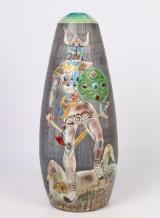 Tilgmans Keramik. Stor bordlampe med vikinge motiv
