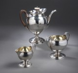 Robert & David Hennell. English George III coffee set, sterling silver, London 1800 (3)