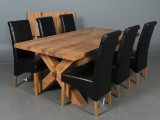 Unique Furniture. Table, solid oak, with extension leaf and six chairs (8)