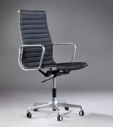 Charles Eames. Office chair, model EA-119, reupholstered in black leather