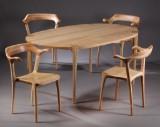 Morten Stenbæk. Spisebord samt fire stole, asketræ, model MS41 & MS20. (5)