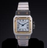 Cartier Santos Automatic. Dameur i 18 kt. guld og stål prydet med safir , 1990'erne