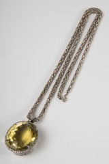 A necklace, 835 silver, citrine with 59 brilliant-cut diamonds, king chain