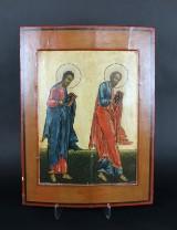 Russisk ikon, æggetempera på træ, 'To apostle', 1700-tallet