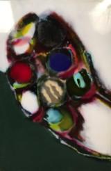 S. Knapp, billede med smeltefarver på emalje