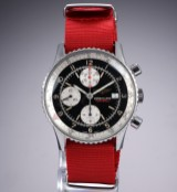 Breitling 'Old Navitimer Football' men's watch, steel, black dial, c. 1994