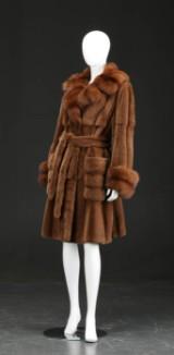 Mink coat with sable fur, size 38-44