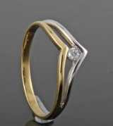 Diamond ring, 18kt. bicolour gold, approx. 0.06ct.