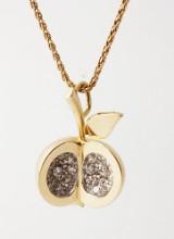 Brillant- og diamantvedhæng i form af æble af 18 kt. guld og hvidguld