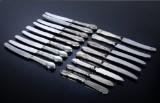 Cohr. Diverse knive med skafter af sølv i skønvirkedesigns (17)