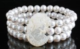 3 strand fresh water pearl mother of pearl bracelet
