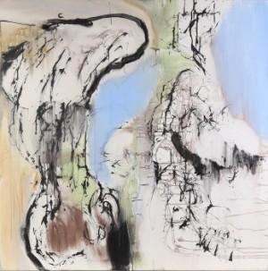 Hanne Hermann. Komposition - Dk, Roskilde, Store Hedevej - Hanne Hermann (f. 1960). Komposition, akryl på lærred, s/b. H. Hermann. 100x100 cm. UR. - Dk, Roskilde, Store Hedevej