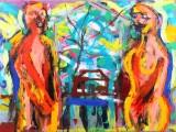 Jon Gislason. 'Par med hus', 117 x 156 cm