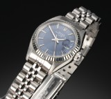 Rolex 'Date'. Ladies watch, steel with blue dial, with date, c. 1984