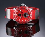Ulysse Nardin 'Marine Maxi Diver'. Herreur i stål med rød skive og rem, 2000'erne