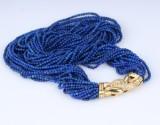 18-radet vintage halscollier med lapis lazuli og brillantlås af 18 kt. guld. 1900-tallets anden halvdel