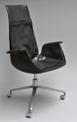 Preben Fabricius & Jørgen Kastholm for Kill Int. Office chair/armchair, 'Tulip chair', model FK 6725