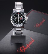 Chopard 'Mille Miglia GMT'. Men's chronograph in steel with black dial - box + certificate 2014