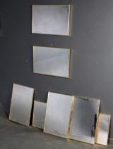 Syv ens vægspejle med rammer af messing (7)