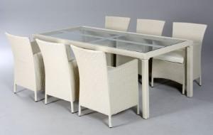 Havemøbler. Bord med seks havestole, råhvid polyrattan 7