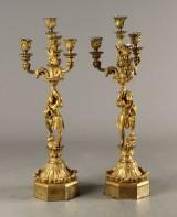 Par franske Louis Phillipe kandelabre, forgyldt bronze (2)