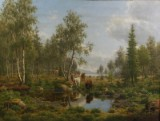 Carl Bøgh. Forest landscape with cattle and waterhole