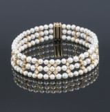 Three-strand cultured pearl and diamond choker, total approx. 3.70 ct.