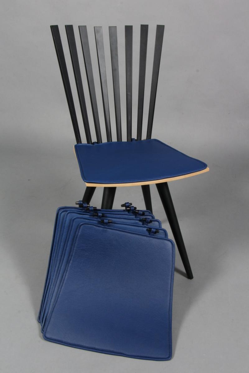 Hyndesæt til Mikado stolen. favet blå læder. (6) |