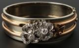 Armring i 14 kt. rosaguld, rødguld og diamantfatninger i 950 platin