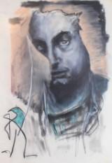 Heinz Morszoeck, Mischtechnik auf Papier; Porträt eines Mannes