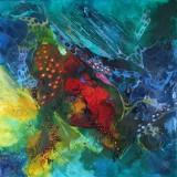 Bozena Ossowski, mixed-media på lærred, 'Spirit Of Colours'