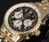 Breitling 'Navitimer' men's watch, 18 kt. gold, black dial, 2000's