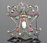 9kt diamond, multi gem and pearl broche/pendant approx. 2.00ct