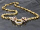 Collier af guld med rubiner og brillanter