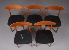 Farstrup Møbler. Fire stole, teak, bøg og skai, 1960'erne