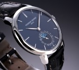 Frederique Constant 'Slimline Moonphase'. Men's watch, steel with deep-blue dial, 2010s