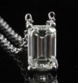 Pendant with an emerald-cut diamond 0.84 ct
