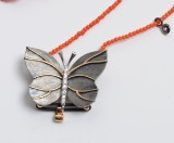 Ole Lynggaard - 'Kartine' butterfly clasp with diamonds and coral necklace