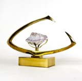 Willy Daro, sculpture of brass with amethyst