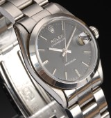 Rolex Oysterdate Precision. Mid-siz watch, steel with black dial with date, 1991