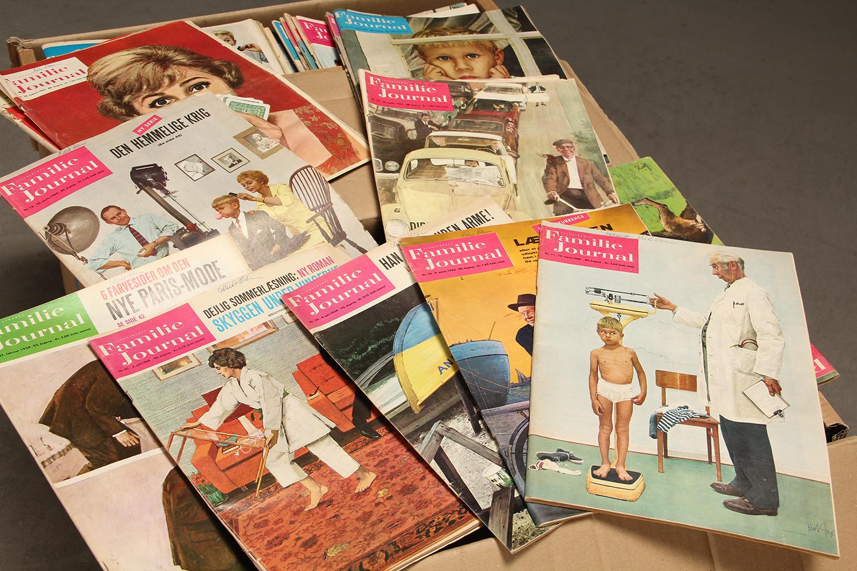 Samling Familie Journalen fra 1940, 1950 og 1960erne (ca. 430) - Samling Familie Journalen fra 1940, 1950 og 1960erne. Fremstår med aldersspor. (ca. 430)