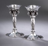 Georg Jensen. Pair of Grape candle sticks, sterling silver, design no. 263 (2)
