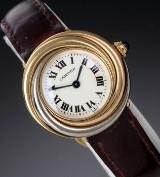 Cartier 'Trinity Trois Ors'. Damenuhr aus 18 kt. dreifarbigem Gold mit Originalarmband und Schließe, 1990er Jahre