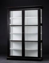 Glass cabinet, black antiqued paint