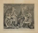 William Hogarth, 'The Rake's Progress. Plate 7: The Prison Scene', kobberstik