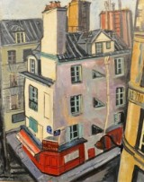 Oil painting, R. Aspe, 'Restaurant au Vieux Paris am Montmartre'