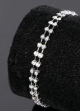 Dobbeltradet diamant armbånd,14 kt hvidguld, 1.02 ct.
