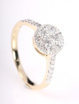 Rosette ring with diamonds from FHP luxe Collection, 14 kt gold, approx. 0.79 ct.
