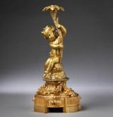 Napoleon III lysestage, forgyldt bronze, ca. 1850