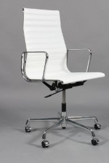 Charles Eames. Office chair, model EA-119, white leather